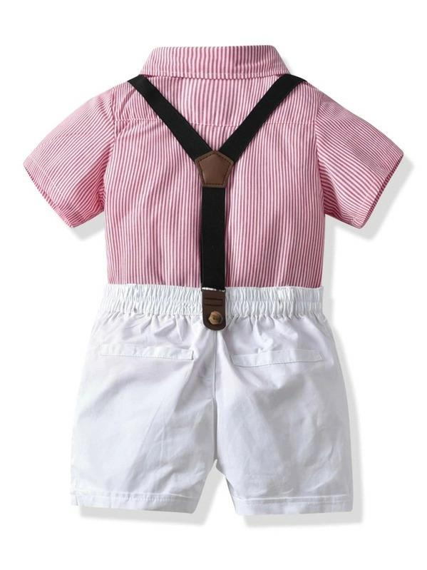 Toddler Boys Bow Neck Striped Shirt With Shorts