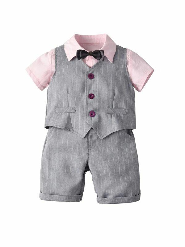 Toddler Boys Bow Shirt & Striped Blazer Vest & Shorts