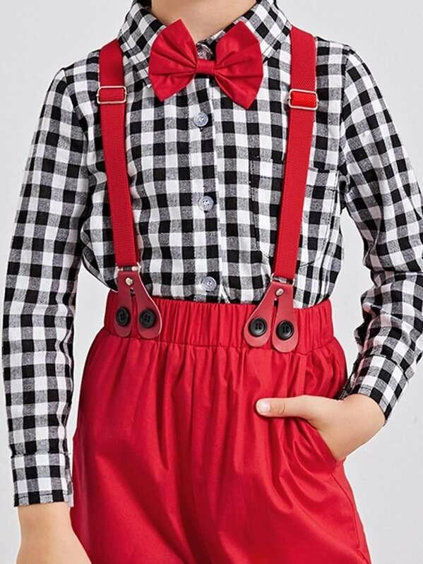 Toddler Boys Bow Tie Gingham Top With Straps Pants
