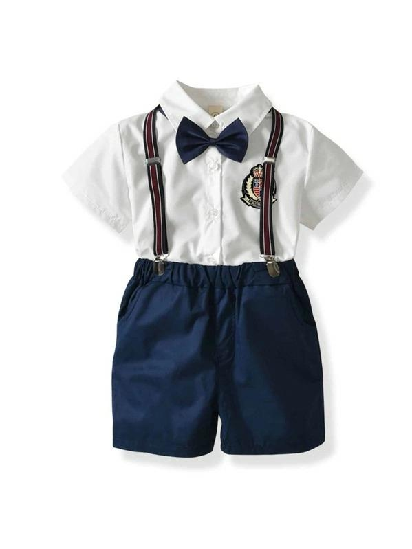 Toddler Boys Bow Tie Patched Shirt With Straps Shorts