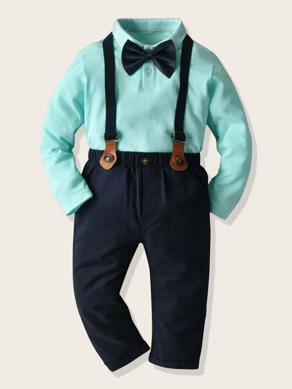 Toddler Boys Bow Tie Polo Neck Top With Pants