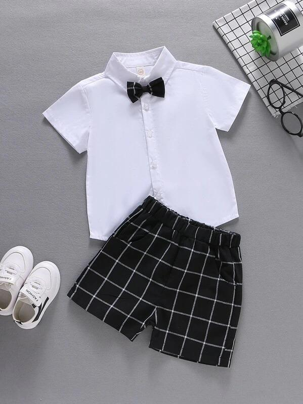 Toddler Boys Bow Tie Shirt With Grid Plaid Shorts