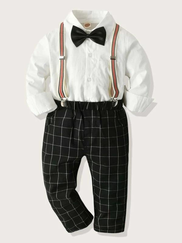 Toddler Boys Bow Tie Top With Plaid Pants Dress Suit