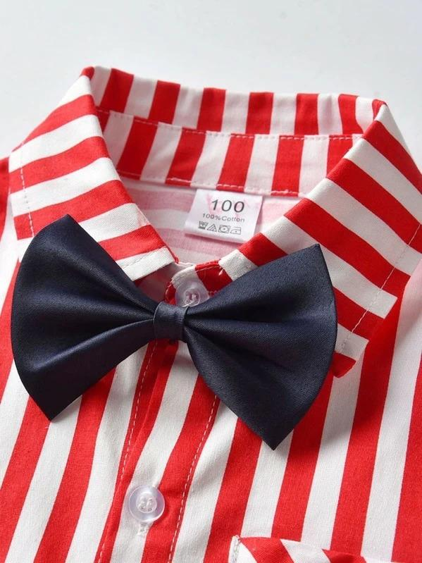 Toddler Boys Bow Tie Vertical-Striped Shirt