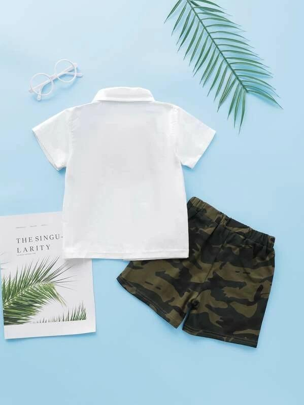 Toddler Boys Camo Panel Bow Tie Shirt With Shorts