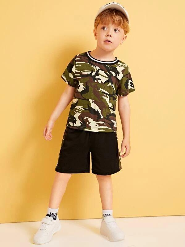 Toddler Boys Camo Pattern Ringer Tee With Shorts