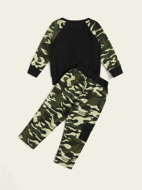 Toddler Boys Camo Print Raglan Sleeve Sweatshirt & Pants