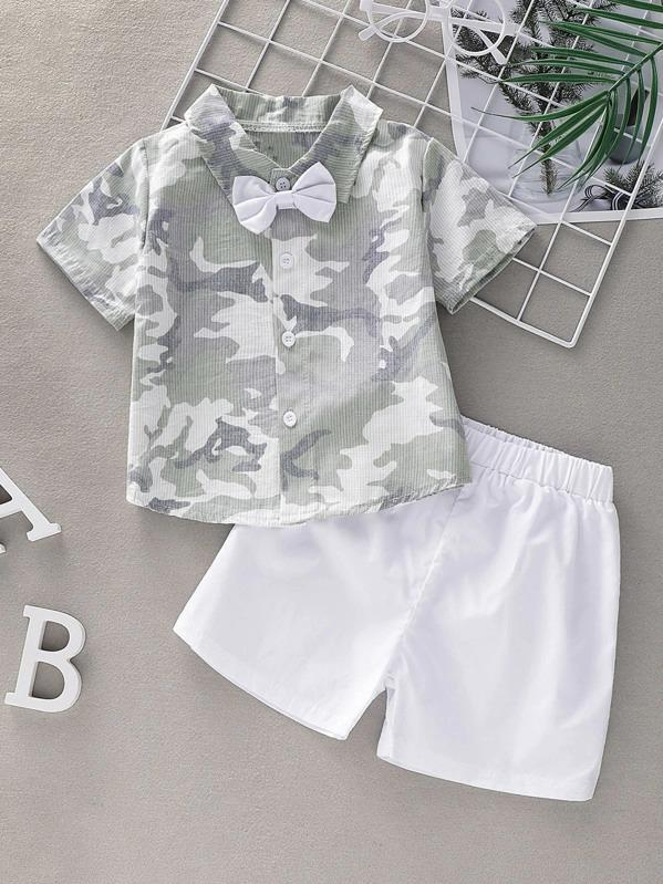 Toddler Boys Camouflage Print Bow Shirt With Shorts