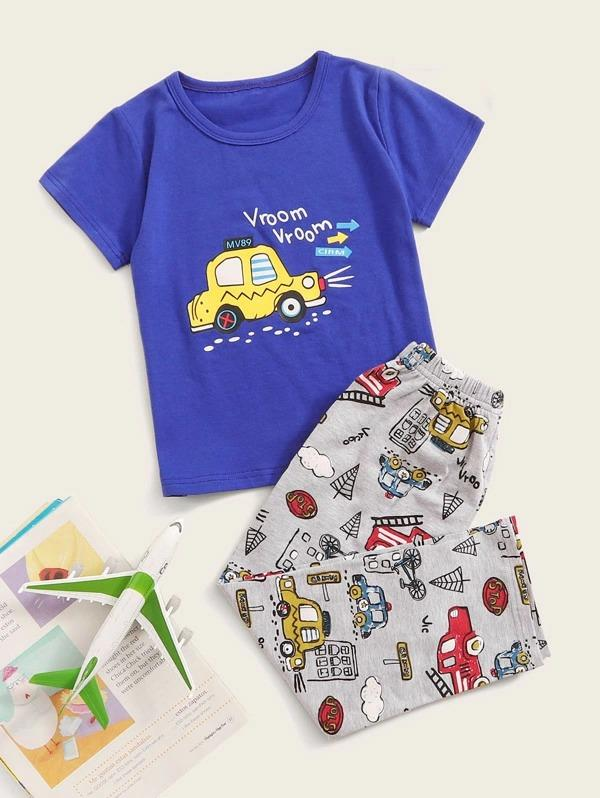 Toddler Boys Car Print Pajama Set