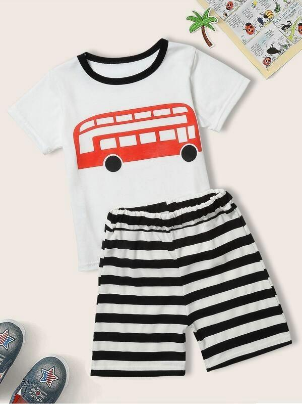 Toddler Boys Car Print Tee With Striped Bermuda Shorts