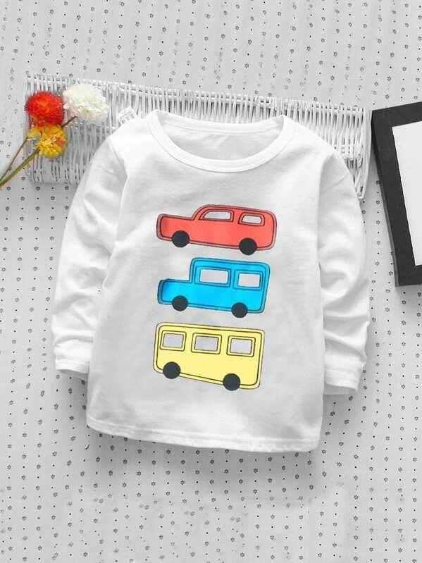 Toddler Boys Car Tee With Letter Graphic Jeans