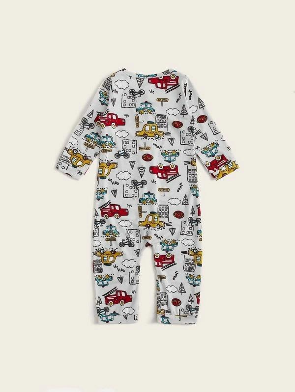 Toddler Boys Cartoon Car Print Button Front Onesie