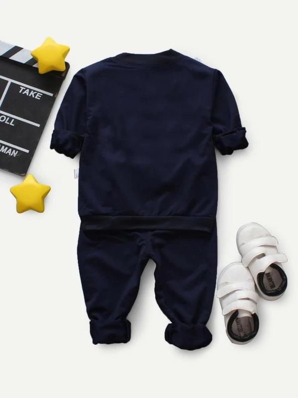 Toddler Boys Cartoon Embroidered Top & Pants