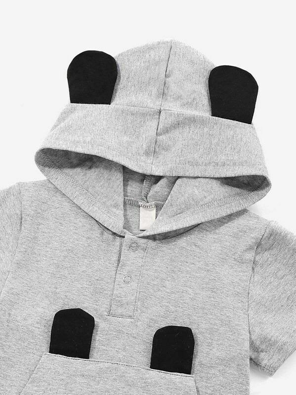 Toddler Boys Cartoon Graphic Hooded Tee With Shorts