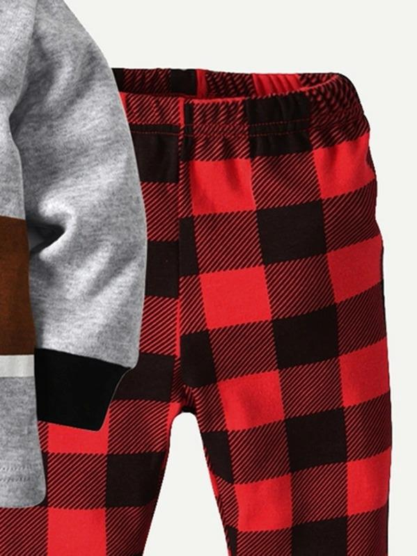 Toddler Boys Cartoon Graphic Tee With Buffalo Plaid Pants