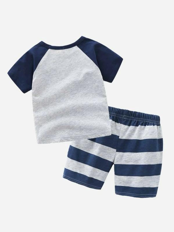 Toddler Boys Cartoon Graphic Tee With Striped Shorts