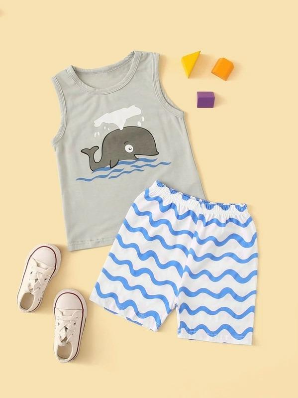 Toddler Boys Cartoon Graphic Vest With Shorts