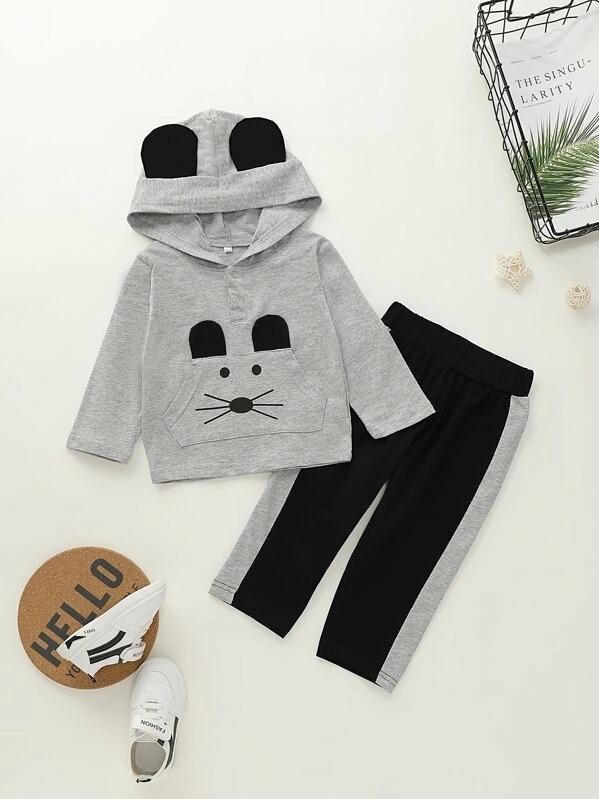 Toddler Boys Cartoon Print Hoodie With Contrast Panel Pants