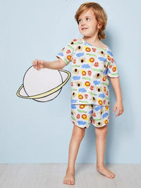 Toddler Boys Cartoon Print Pajama Set
