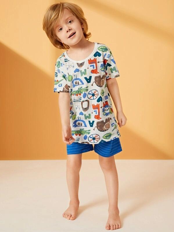 Toddler Boys Cartoon Print Striped Pajama Set