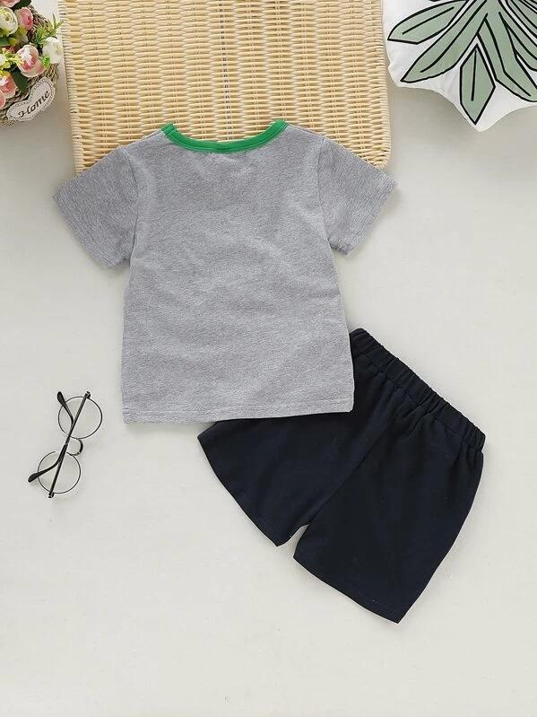 Toddler Boys Cartoon Print Tee With Shorts