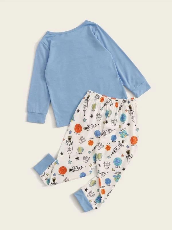 Toddler Boys Cartoon Spacecraft Print PJ Set