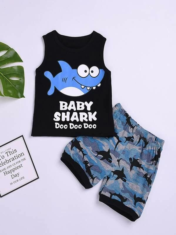 Toddler Boys Cartoon & Letter Graphic Tank Top & Shorts