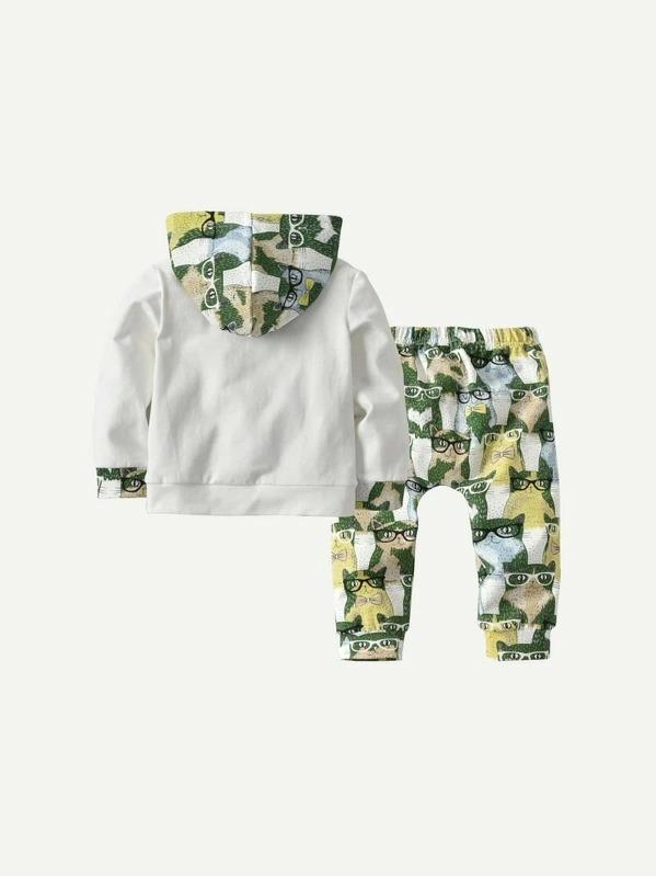 Toddler Boys Cat Print Hooded Sweatshirt With Pants