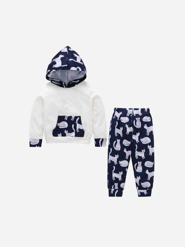 Toddler Boys Cat Print Hoodie With Pants