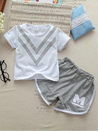 Toddler Boys Chevron Print Tee With Contrast Binding Shorts