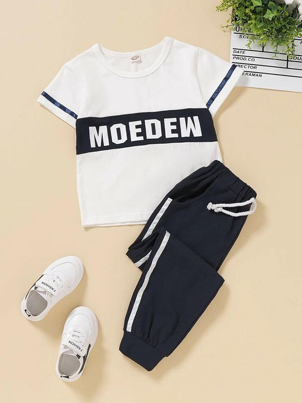 Toddler Boys Color-Block Letter Graphic Tee With Sweatpants