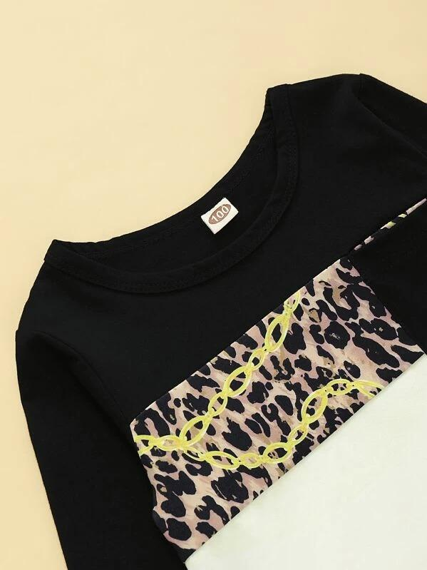 Toddler Boys Colorblock Leopard Print Tee & Sweatpants