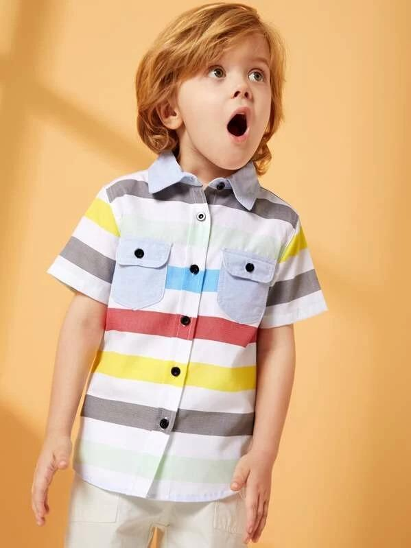 Toddler Boys Colorful Striped Dual Pocket Shirt