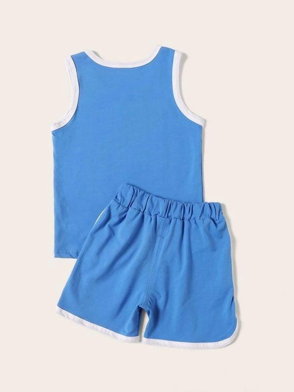 Toddler Boys Contrast Binding Letter Print Tank Top With Shorts