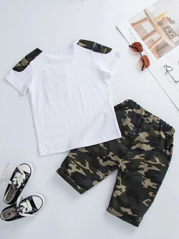 Toddler Boys Contrast Camo Letter Patched Tee With Pants
