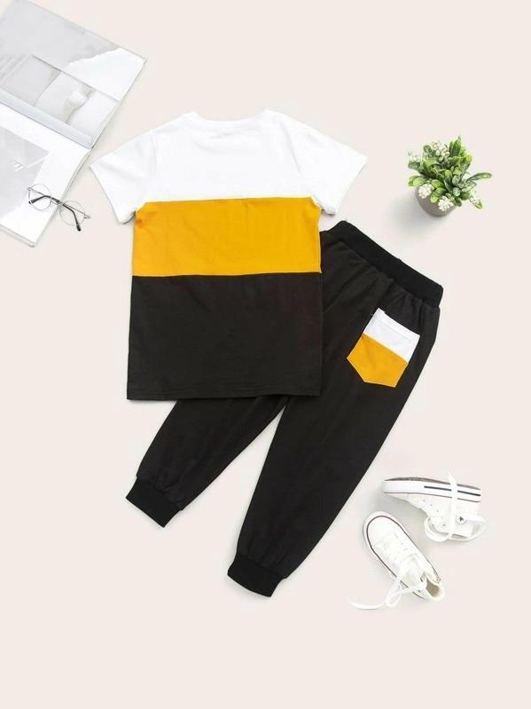 Toddler Boys Contrast Panel Letter Graphic Tee With Sweatpants