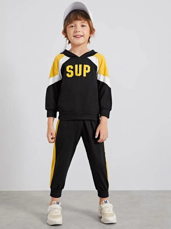 Toddler Boys Contrast Panel Letter Hoodie With Sweatpants