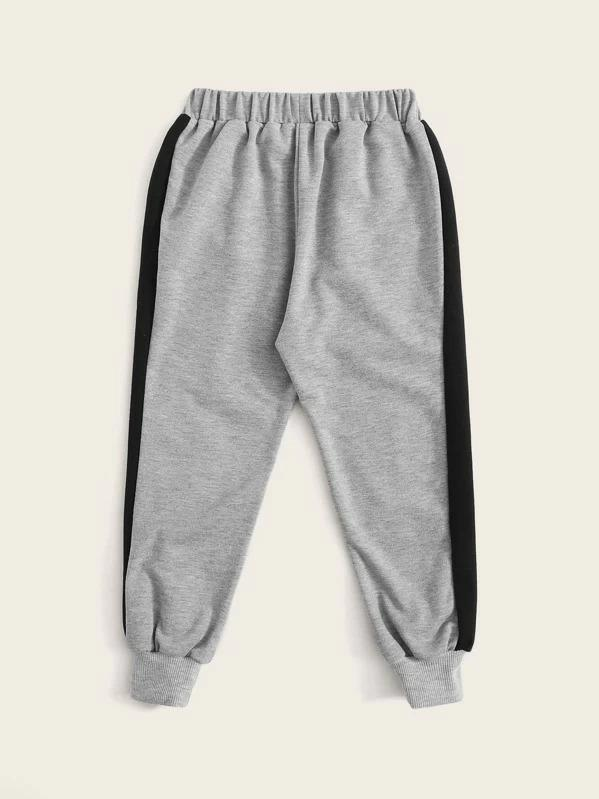 Toddler Boys Contrast Panel Letter Print Sweatpants