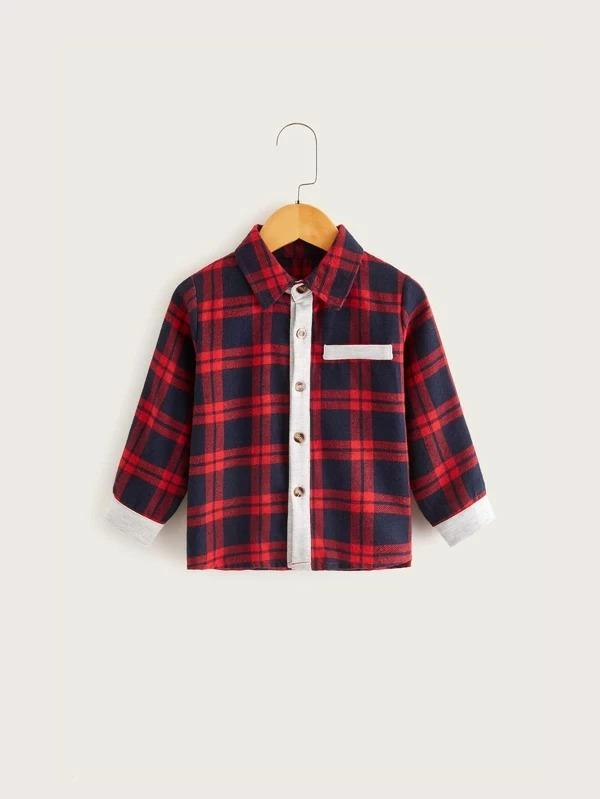 Toddler Boys Contrast Panel Plaid Shaket