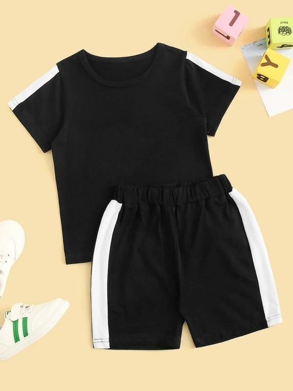 Toddler Boys Contrast Side Tee With Track Shorts