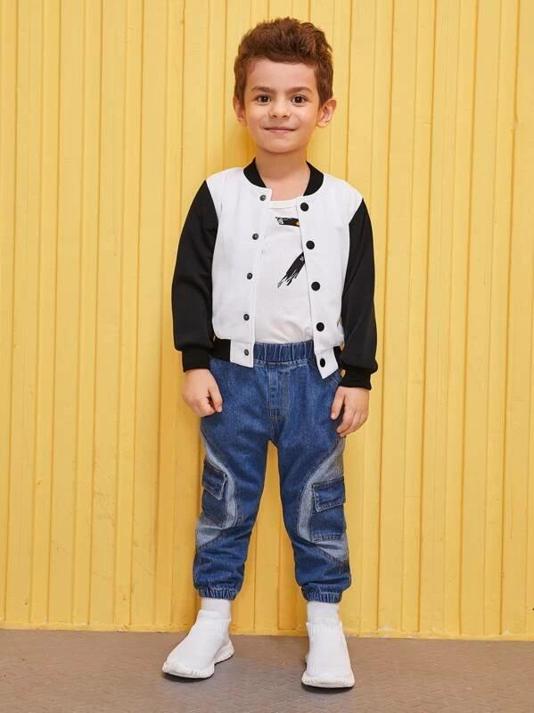 Toddler Boys Contrast Sleeve Bomber Jacket