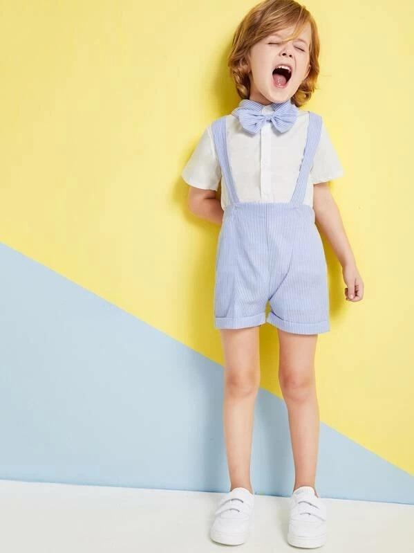 Toddler Boys Contrast Stripe Collar Bow Neck Shirt & Striped Pinafore Shorts
