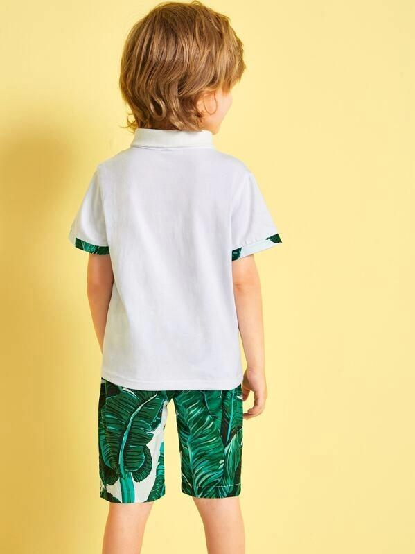 Toddler Boys Contrast Trim Polo Shirt With Tropical Print Shorts