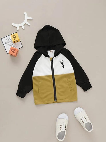 Toddler Boys Cut And Sew Deer Print Hooded Jacket