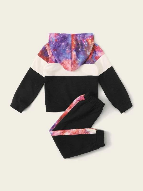 Toddler Boys Cut And Sew Galaxy Print Hoodie With Sweatpants