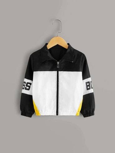 Toddler Boys Cut And Sew Letter Windbreaker Jacket