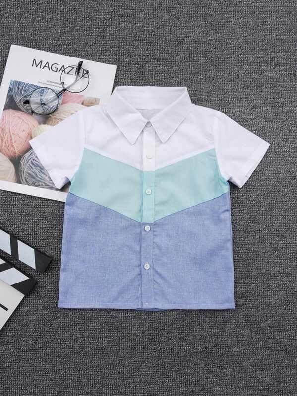 Toddler Boys Cut And Sew Panel Button Front Shirt