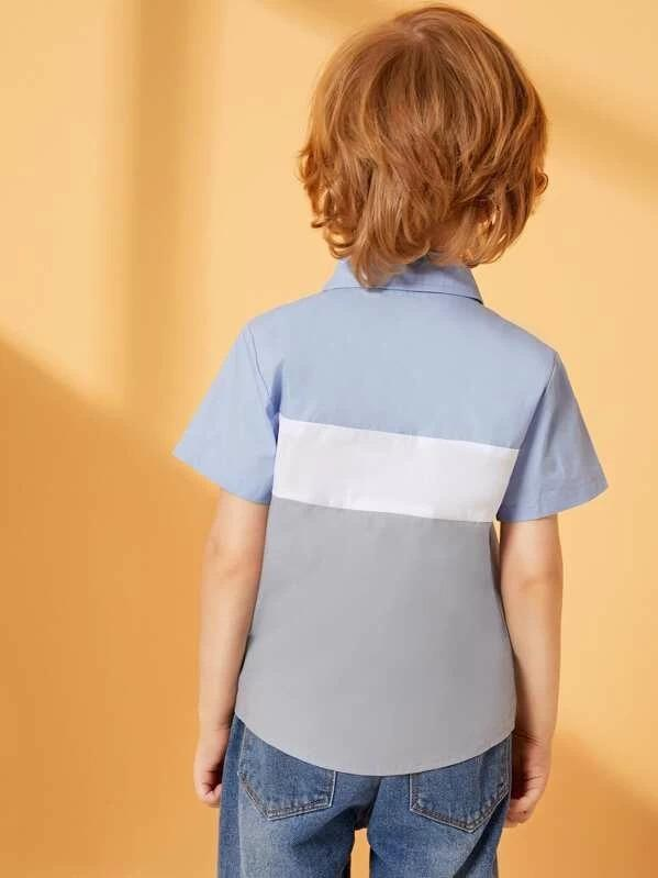Toddler Boys Cut And Sew Panel Curved Hem Shirt