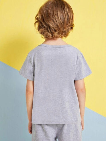 Toddler Boys Cut And Sew Panel Letter Print Tee