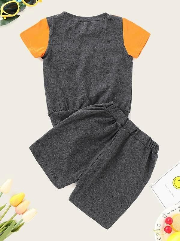Toddler Boys Cut And Sew Panel Top With Shorts